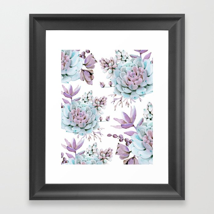 Turquoise and Violet Succulents Framed Art Print