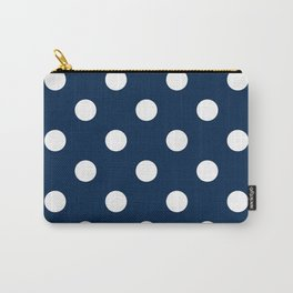 Polka Dots - White on Oxford Blue Carry-All Pouch