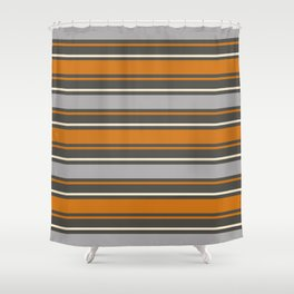 Minimal Abstract Vintage Cream Orange Greye 06 Shower Curtain