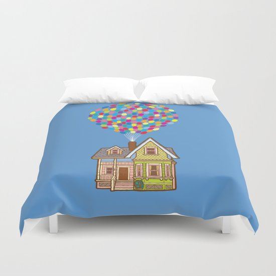Up House with Balloons Duvet Cover