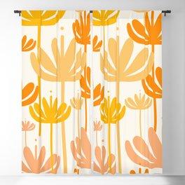 Bali Flowers Floral Pattern in Mustard Orange Cream Blackout Curtain