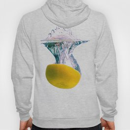 Grapefruit falls into water with big splash on white background Hoody