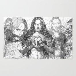 SOLVE ET COAGULA. Composition. Ladies. Damascus. Triptych.  Illustration. INK ART. Yury F Rug
