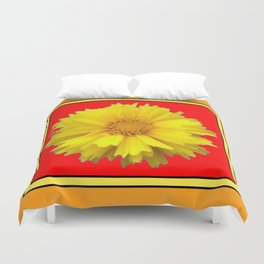 DECORATIVE RED COREOPSIS MODERN ART Duvet Cover