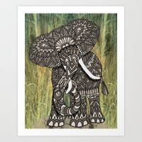 ornate elephant Art Prints featuring Ornate Elephant by ArtLovePassion