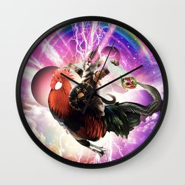 Lazer Warrior Space Cat Riding Chicken Eating Burrito Wall Clock