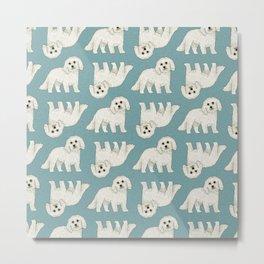 Bichon Frise Dog Pattern Green Metal Print