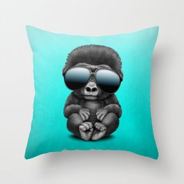 Cute Baby Gorilla Wearing Sunglasses Throw Pillow