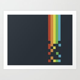 1980s Colorful Vintage Bitmap Pixel Art Print