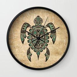 Vintage Teal Blue Haida Spirit Sea Turtle Wall Clock