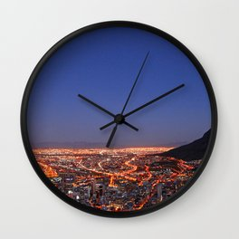 Cape Town at night, South Africa Wall Clock
