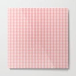 Large Lush Blush Pink Gingham Check Plaid Metal Print