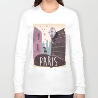 travel poster Long Sleeve T-shirts featuring Vintage Paris Travel Poster cartoon by Nick's Emporium Gallery
