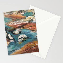 Water And Rock Expressionism Painting Stationery Cards