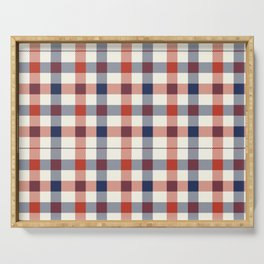 Plaid Red White And Blue Lumberjack Flannel Design Serving Tray