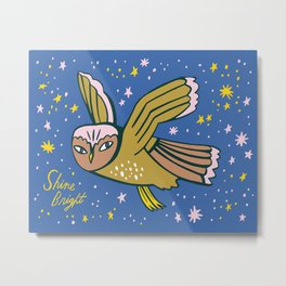 Shine Bright Owl Metal Print