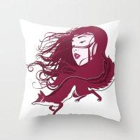 kitsune Throw Pillows featuring Kitsune by Stevyn Llewellyn