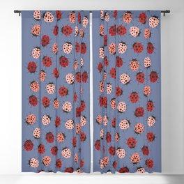 All over Modern Ladybug on Plum Background Blackout Curtain
