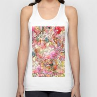 preppy Tank Tops featuring Summer Flowers | Colorful Watercolor Floral Pattern Abstract Sketch by Girly Trend