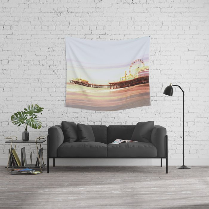 Santa Monica Pier Sunrise Wall Tapestry by Christine aka stine1