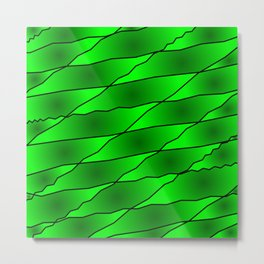 Slanting iridescent lines and rhombuses on green with intersection of glare. Metal Print