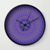 mandala Wall Clocks featuring Purple mandala by David Zydd