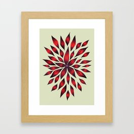 Abstract Red Flower Doodle Framed Art Print