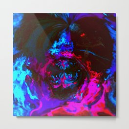 Neon Acrylic Fluid Pour Abstract Painting Metal Print