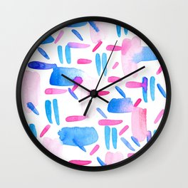 Blue Pink Diagonal Plaid Wall Clock