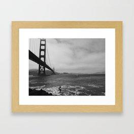 San Francisco Bay Bridge Surfing  Framed Art Print
