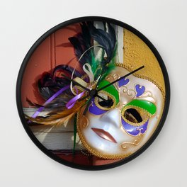 New Orleans Mardi Gras Mask Wall Clock