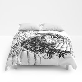 Black & White Zentangle Owl Pen Drawing Comforters