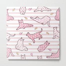 Pink Cats Striped Pattern Metal Print