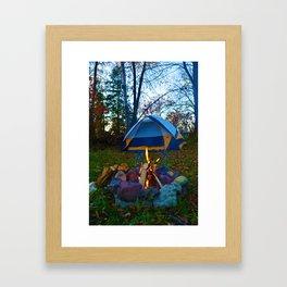 Camping & a Campfire in the Kawartha Lakes, Ontario, Canada Framed Art Print