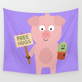 Pig with Cactus Wall Tapestry