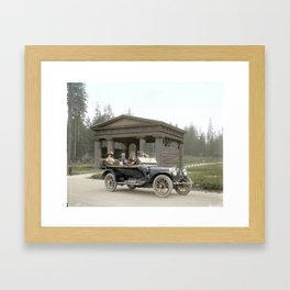 People in a car in front of Lumbermen's Arch at Stanley Park, 1913 Framed Art Print