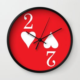 Two Of Hearts Graphic Wall Clock