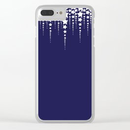 Falling Stars on Dark Blue Sky - Christmas Illustration Clear iPhone Case