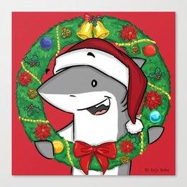 Christmas Wreath Shark Canvas Print