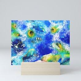 Tropical fish coral reef vibrant watercolor Mini Art Print