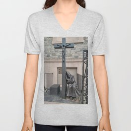 God Help Us Crucifix Statue in NYC Unisex V-Neck