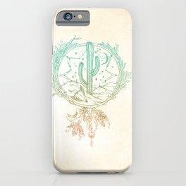 Desert Cactus Dreamcatcher Turquoise Coral Gradient iPhone Case