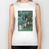 kodama Biker Tanks featuring Kodama in the woods by pkarnold + The Cult Print Shop