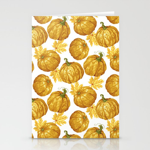 Harvest Season Pumpkins' Pattern Stationery Cards