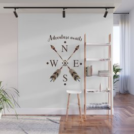 Cardinal directions Compass Arrows Adventure awaits Typography Wall Mural