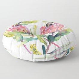 King Protea and Bird Watercolor Illustration Botanical Design Floor Pillow