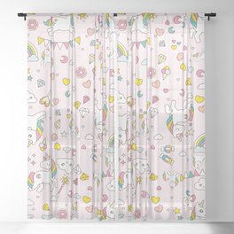 Unicorn Pattern Sheer Curtain