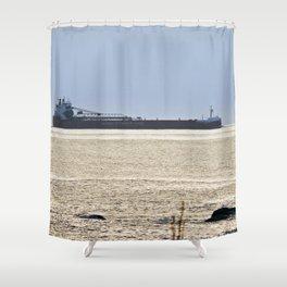 Big Ship Close to Shore Shower Curtain