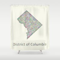 dc Shower Curtains featuring DC map by David Zydd