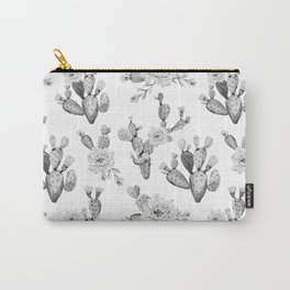 Cactus Rose Garden Black and White Carry-All Pouch